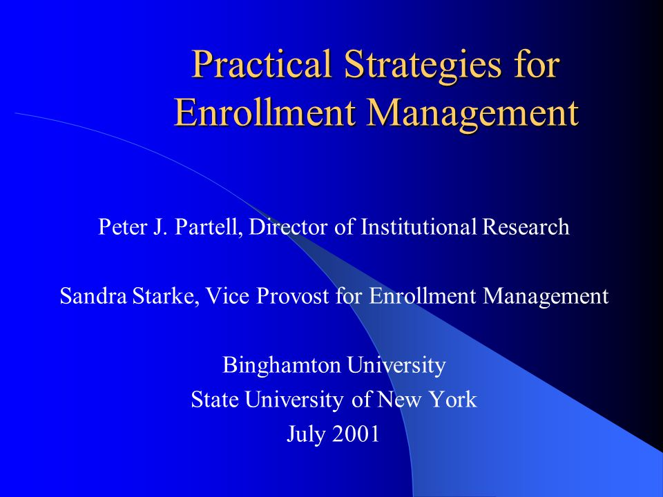 Enrollment Management-Data Sources You may already have the tools, the new model means you look at them differently -- your goal is to tie the entire campus together