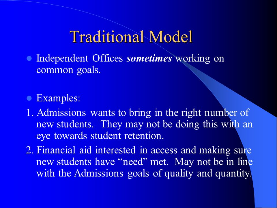 Traditional Model- More Examples 3.