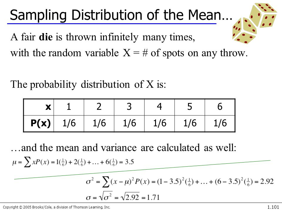 Copyright © 2005 Brooks/Cole, a division of Thomson Learning, Inc. 1.101 x123456 P(x)1/6 Sampling Distribution of the Mean… A fair die is thrown infin