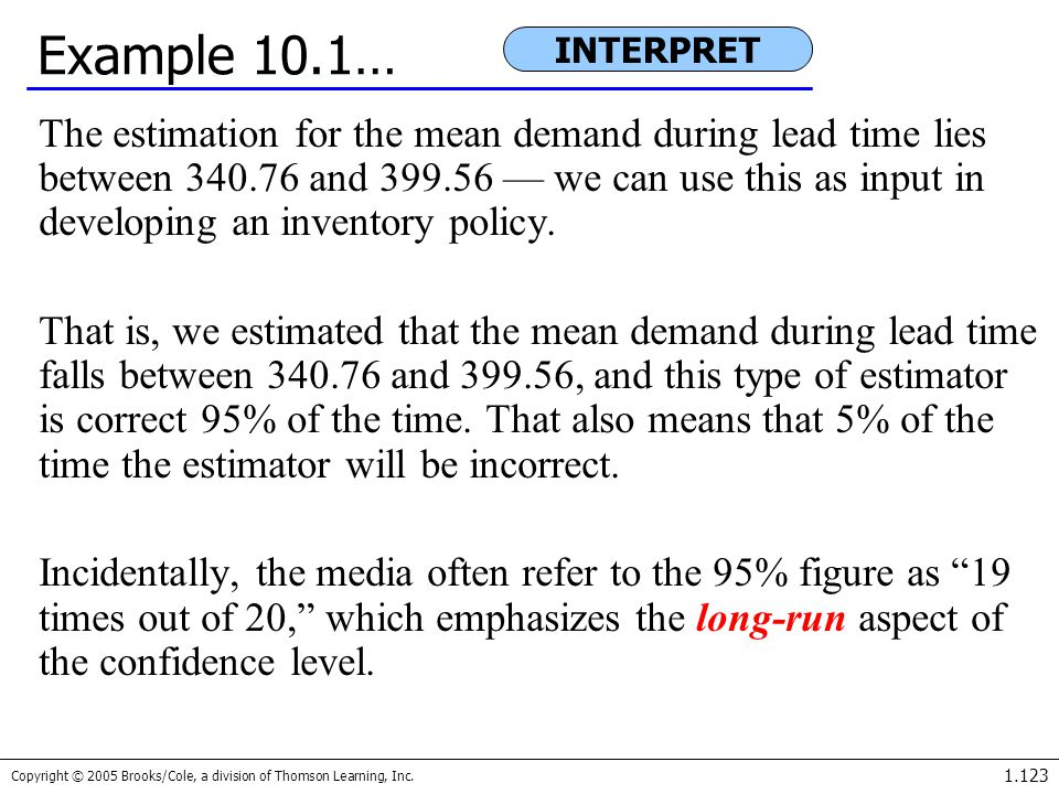 Copyright © 2005 Brooks/Cole, a division of Thomson Learning, Inc. 1.123 Example 10.1… The estimation for the mean demand during lead time lies betwee
