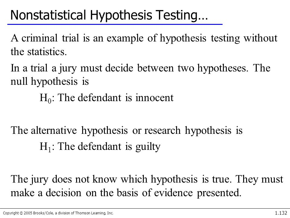 Copyright © 2005 Brooks/Cole, a division of Thomson Learning, Inc. 1.132 Nonstatistical Hypothesis Testing… A criminal trial is an example of hypothes