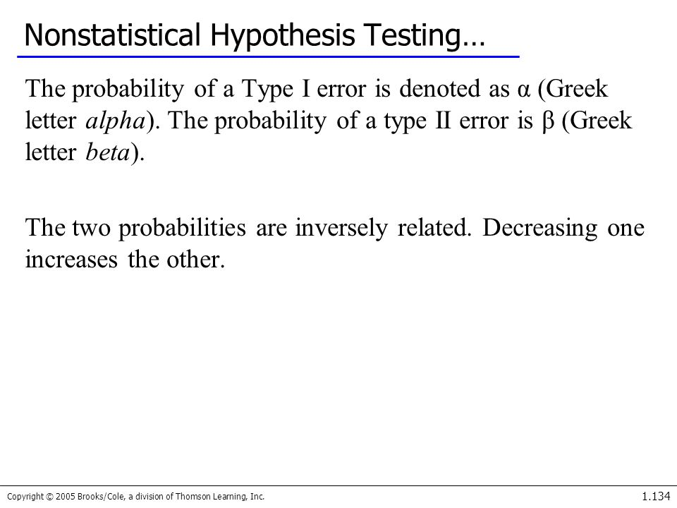 Copyright © 2005 Brooks/Cole, a division of Thomson Learning, Inc. 1.134 Nonstatistical Hypothesis Testing… The probability of a Type I error is denot