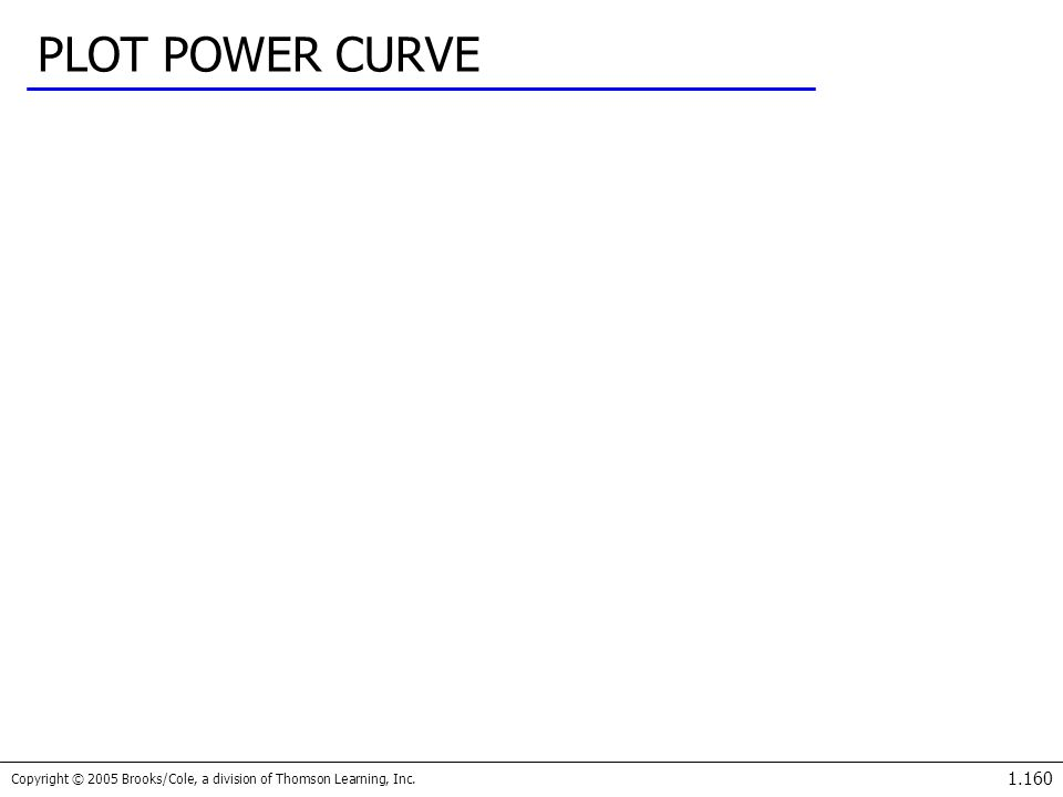 Copyright © 2005 Brooks/Cole, a division of Thomson Learning, Inc. 1.160 PLOT POWER CURVE