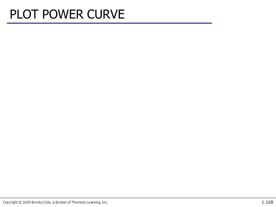 Copyright © 2005 Brooks/Cole, a division of Thomson Learning, Inc. 1.168 PLOT POWER CURVE