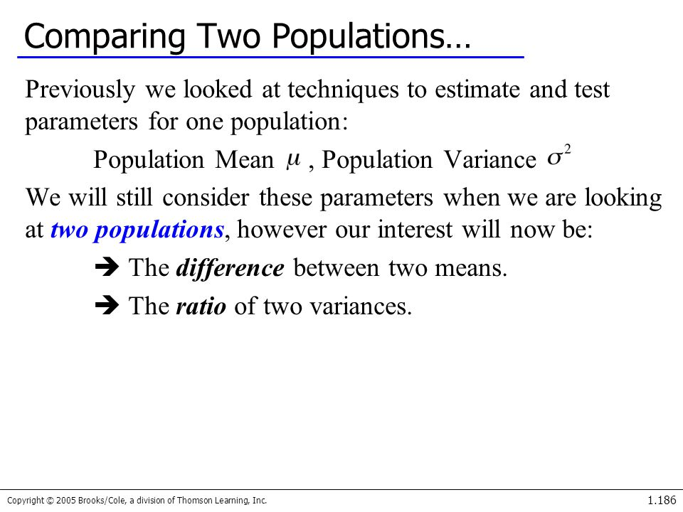 Copyright © 2005 Brooks/Cole, a division of Thomson Learning, Inc. 1.186 Comparing Two Populations… Previously we looked at techniques to estimate and