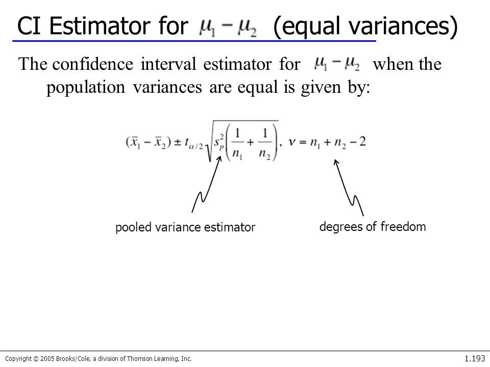 Copyright © 2005 Brooks/Cole, a division of Thomson Learning, Inc. 1.193 CI Estimator for (equal variances) The confidence interval estimator for when