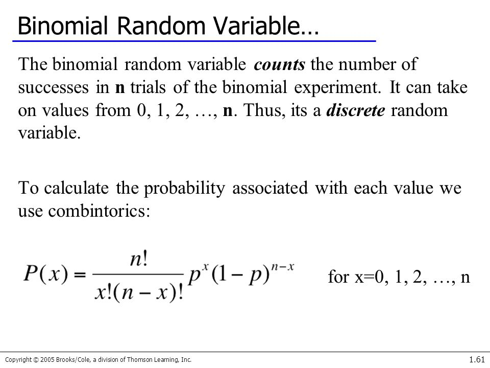 Copyright © 2005 Brooks/Cole, a division of Thomson Learning, Inc. 1.61 Binomial Random Variable… The binomial random variable counts the number of su