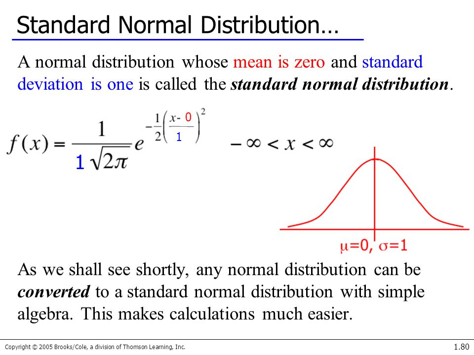 Copyright © 2005 Brooks/Cole, a division of Thomson Learning, Inc. 1.80 Standard Normal Distribution… A normal distribution whose mean is zero and sta