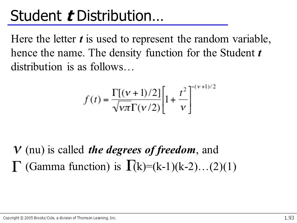 Copyright © 2005 Brooks/Cole, a division of Thomson Learning, Inc. 1.93 Student t Distribution… Here the letter t is used to represent the random vari