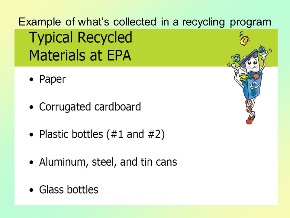 Example of what's collected in a recycling program