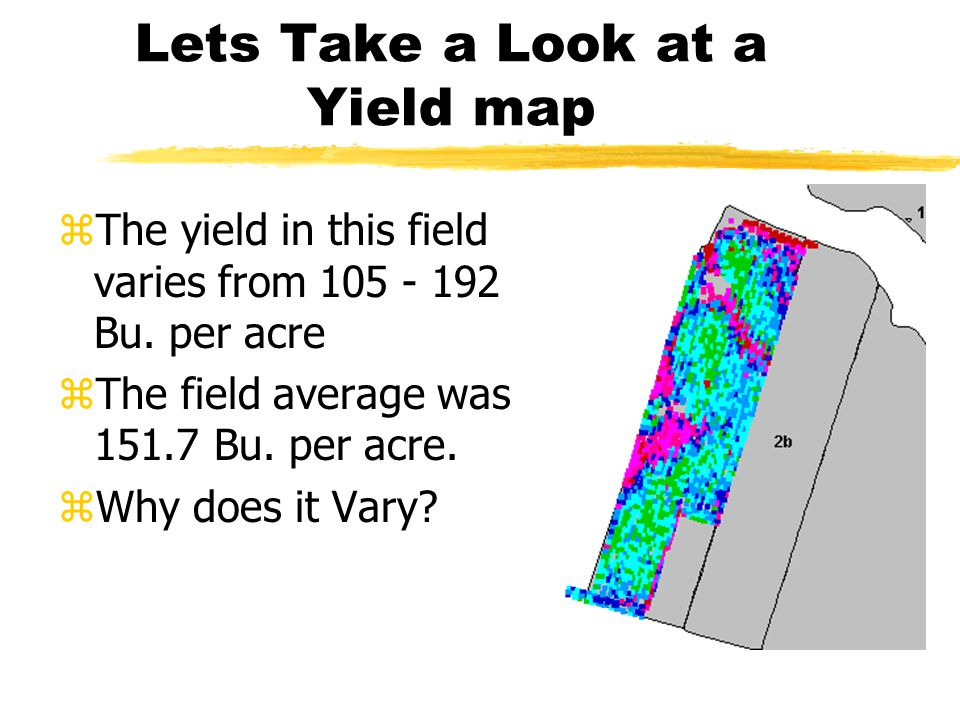 Record Yield Information zKeep track of yields trough weights or a yield monitor.
