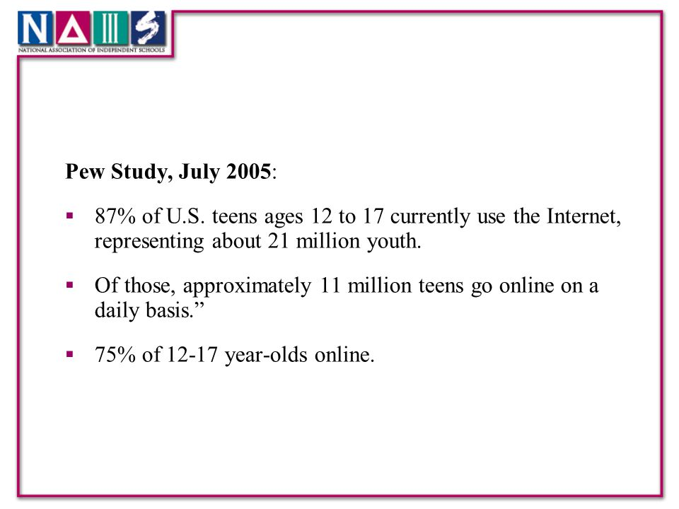 Pew Study, July 2005:  87% of U.S.