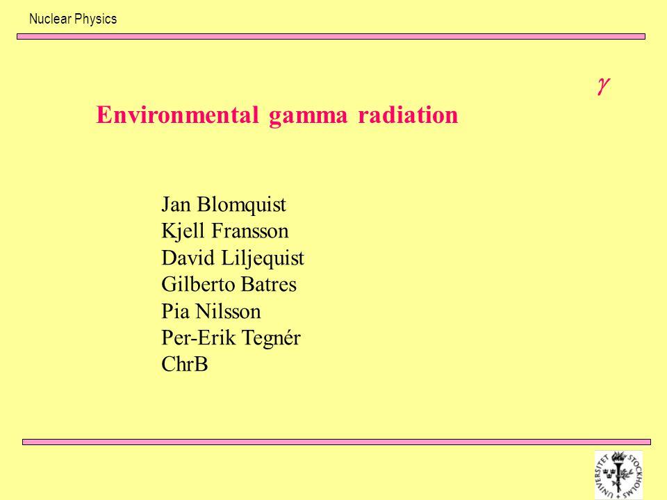Environmental gamma radiation Jan Blomquist Kjell Fransson David Liljequist Gilberto Batres Pia Nilsson Per-Erik Tegnér ChrB 