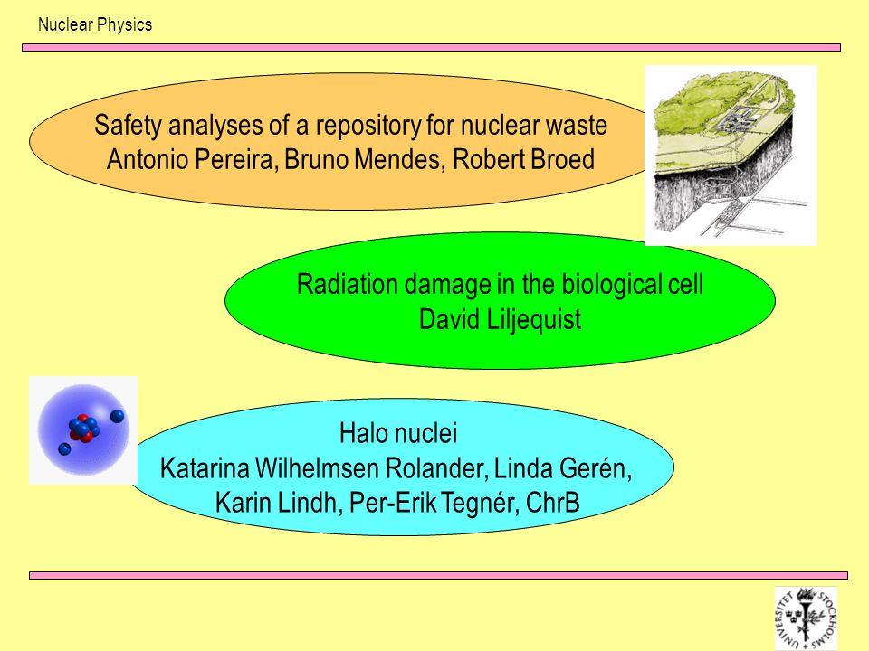 Nuclear Physics Radiation damage in the biological cell David Liljequist Safety analyses of a repository for nuclear waste Antonio Pereira, Bruno Mend