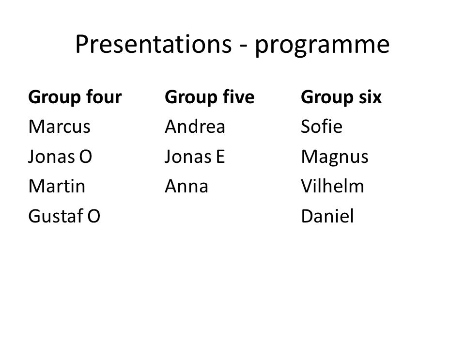 Presentations - programme Group four Marcus Jonas O Martin Gustaf O Group five Andrea Jonas E Anna Group six Sofie Magnus Vilhelm Daniel