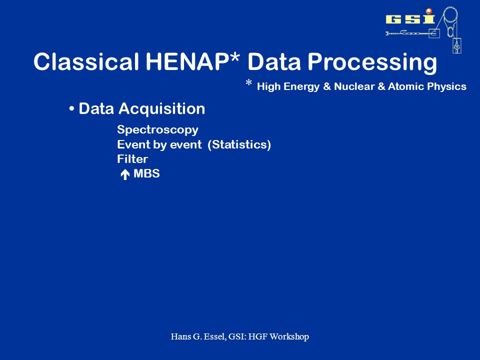 Hans G. Essel, GSI: HGF Workshop Examples at GSI Standard DAQ: MBS: Nearly all experiments