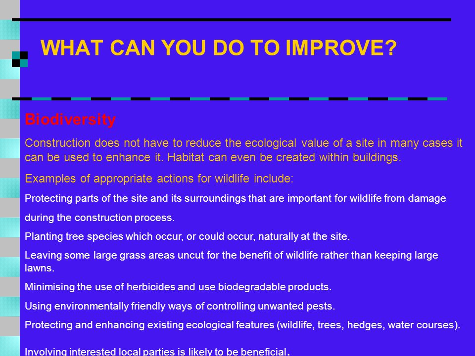 WHAT CAN YOU DO TO IMPROVE? Biodiversity Construction does not have to reduce the ecological value of a site in many cases it can be used to enhance i