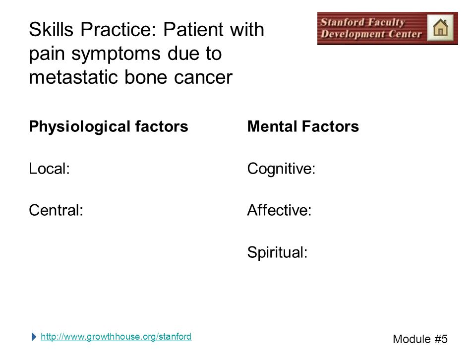 http://www.growthhouse.org/stanford Module #5 Skills Practice: Patient with pain symptoms due to metastatic bone cancer Physiological factors Local: Central: Mental Factors Cognitive: Affective: Spiritual: