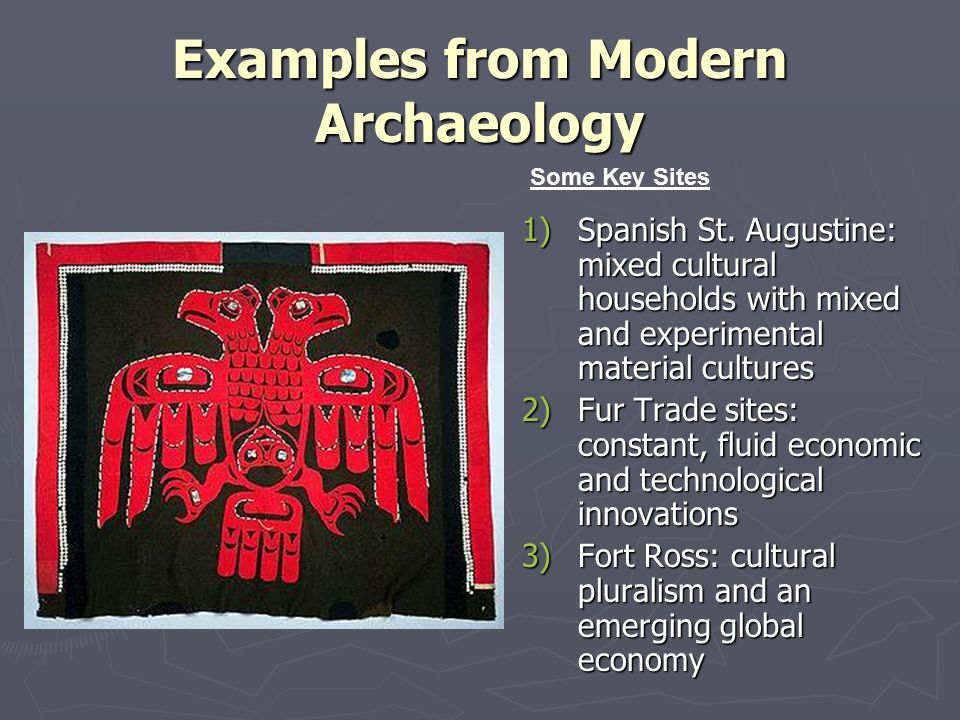 Examples from Modern Archaeology 1)Spanish St.