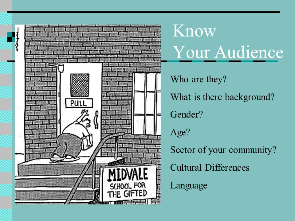 Know Your Audience Who are they? What is there background? Gender? Age? Sector of your community? Cultural Differences Language