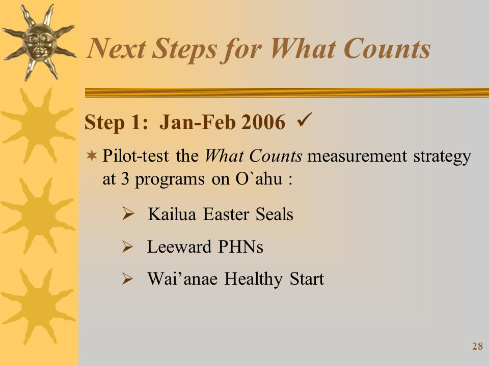 28 Next Steps for What Counts Step 1: Jan-Feb 2006  Pilot-test the What Counts measurement strategy at 3 programs on O`ahu :  Kailua Easter Seals  Leeward PHNs  Wai'anae Healthy Start