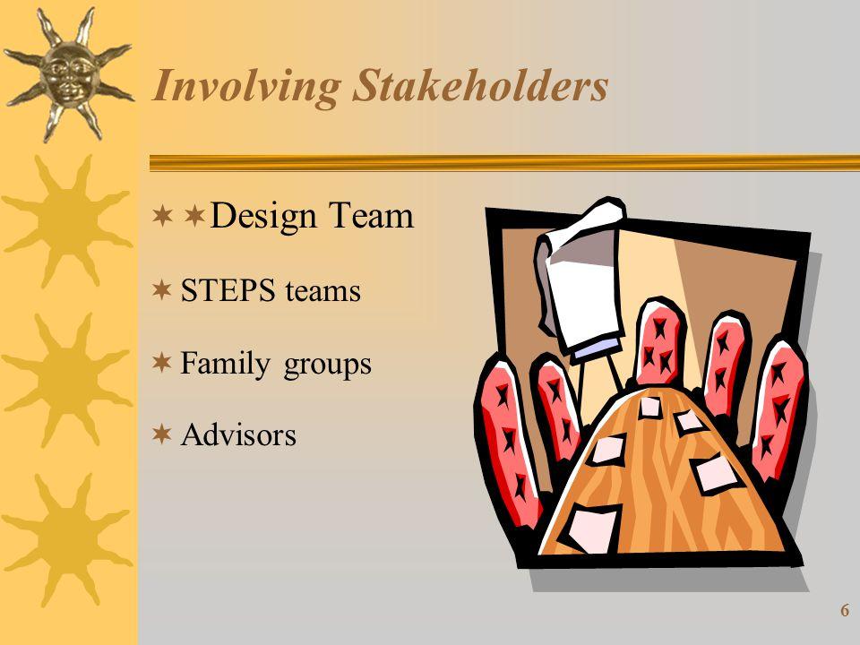 6 Involving Stakeholders  Design Team  STEPS teams  Family groups  Advisors