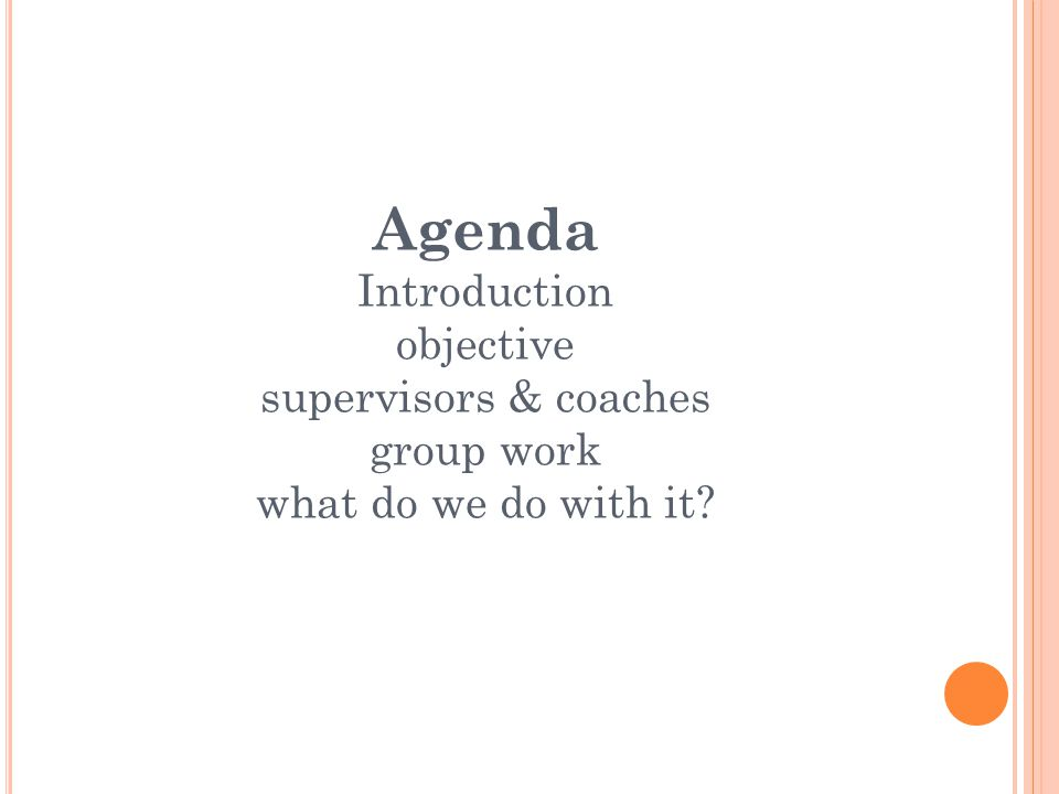 Agenda Introduction objective supervisors & coaches group work what do we do with it