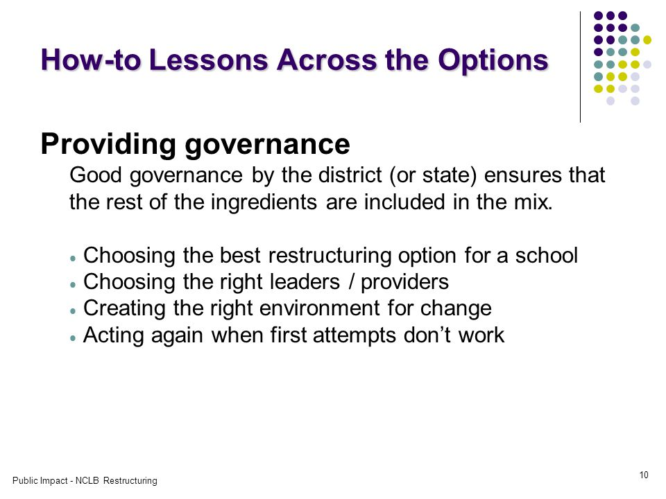 Public Impact - NCLB Restructuring 10 How-to Lessons Across the Options Providing governance Good governance by the district (or state) ensures that the rest of the ingredients are included in the mix.