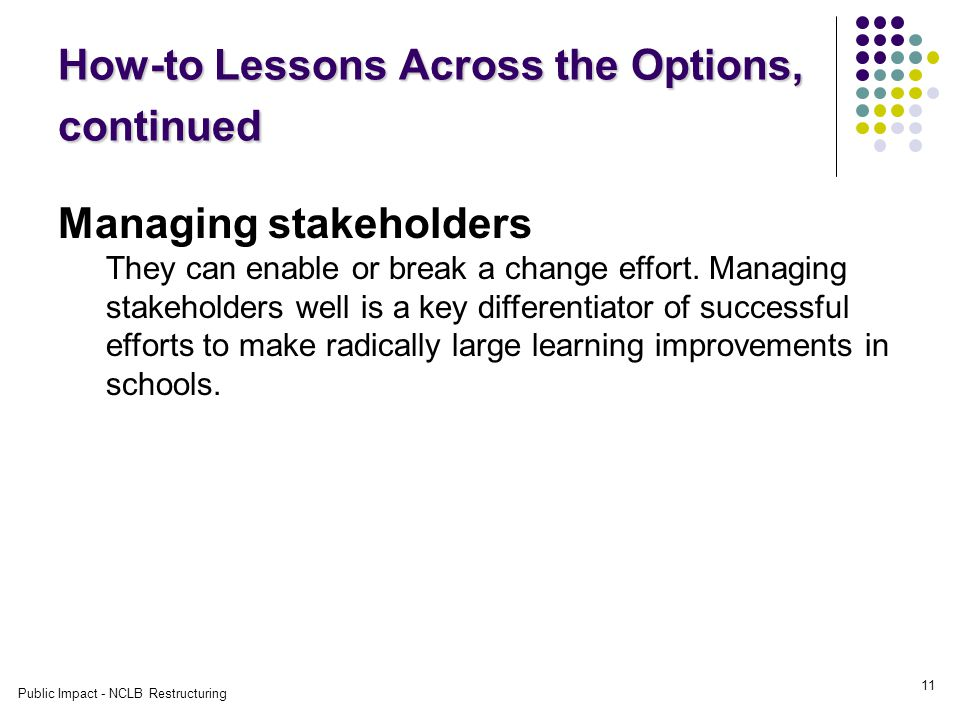 Public Impact - NCLB Restructuring 11 How-to Lessons Across the Options, continued Managing stakeholders They can enable or break a change effort.