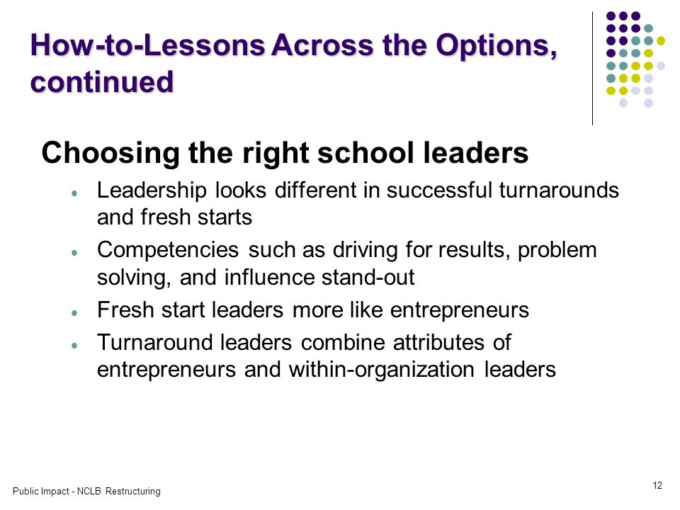 Public Impact - NCLB Restructuring 12 Choosing the right school leaders  Leadership looks different in successful turnarounds and fresh starts  Competencies such as driving for results, problem solving, and influence stand-out  Fresh start leaders more like entrepreneurs  Turnaround leaders combine attributes of entrepreneurs and within-organization leaders How-to-Lessons Across the Options, continued