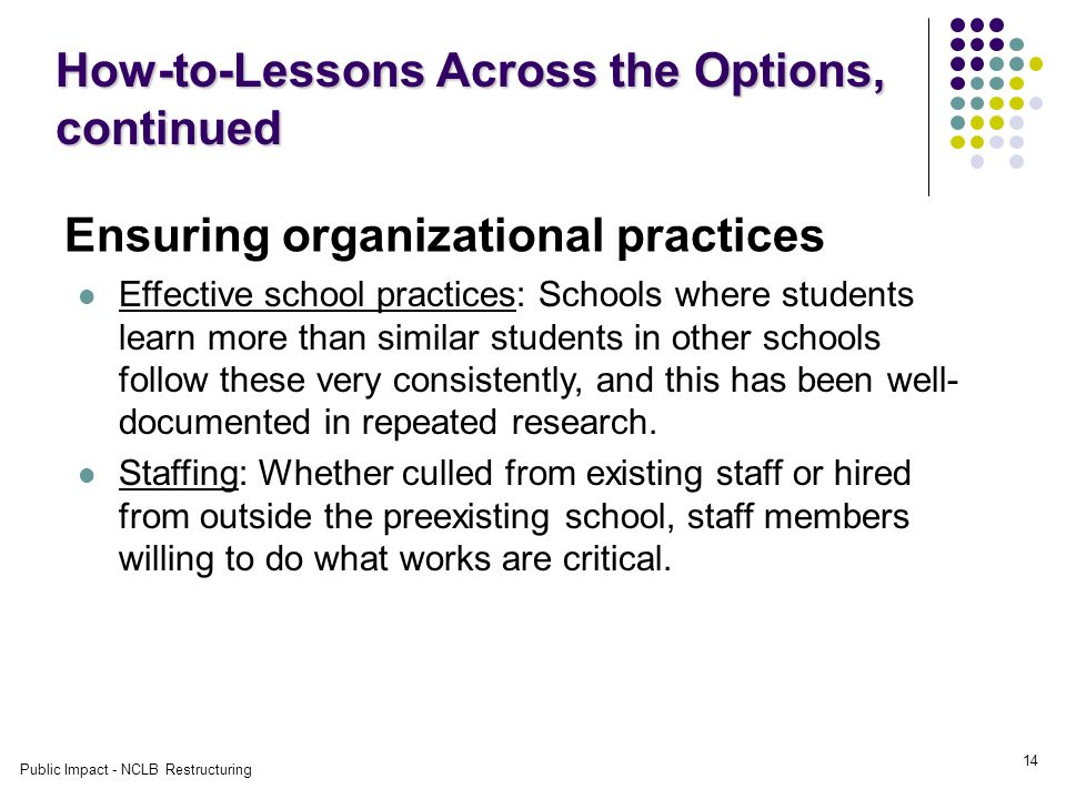 Public Impact - NCLB Restructuring 14 Ensuring organizational practices How-to-Lessons Across the Options, continued Effective school practices: Schools where students learn more than similar students in other schools follow these very consistently, and this has been well- documented in repeated research.