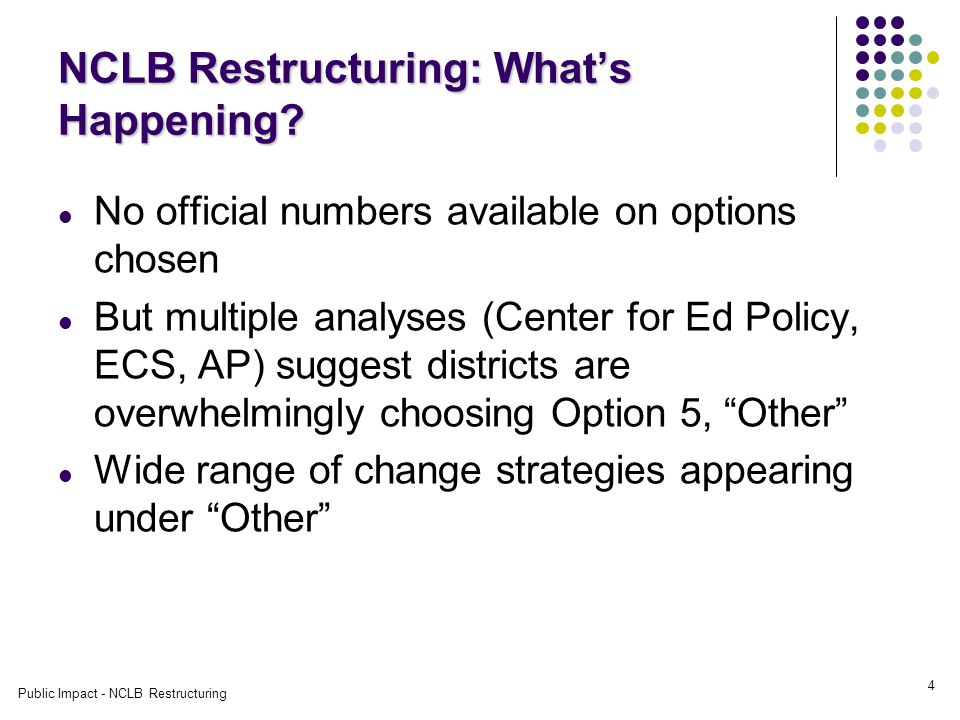 Public Impact - NCLB Restructuring 25 Restructuring Roadmap Step 3: Implement the Plan Step 4: Evaluate, Improve, and Act on Failures After approval by your school board: o Setting goals for implementation o Removing implementation roadblocks o Using resources for implementation o Implementing your restructuring plan(s) o Evaluating success – improved enough.