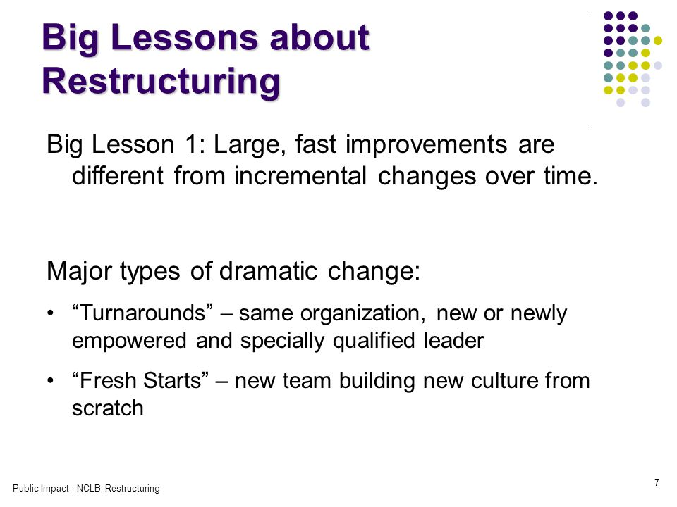 Public Impact - NCLB Restructuring 7 Big Lessons about Restructuring Big Lesson 1: Large, fast improvements are different from incremental changes over time.