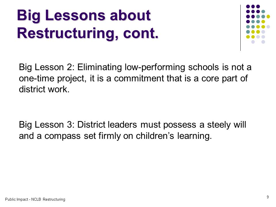 Public Impact - NCLB Restructuring 9 Big Lessons about Restructuring, cont.