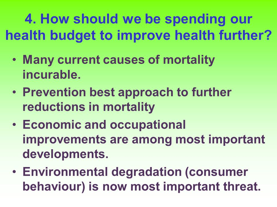 4. How should we be spending our health budget to improve health further.