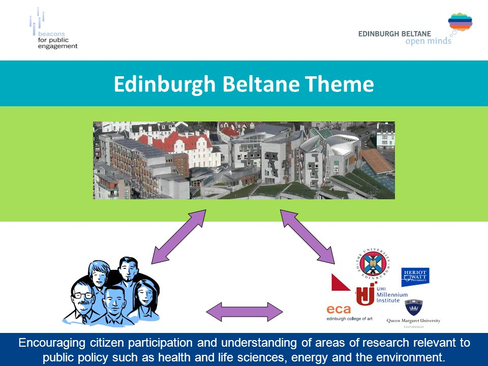 Edinburgh Beltane Theme Encouraging citizen participation and understanding of areas of research relevant to public policy such as health and life sciences, energy and the environment.