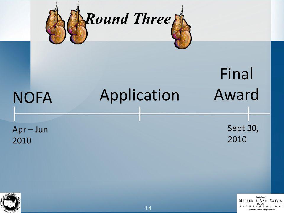 14 Round Three NOFA Application Final Award Apr – Jun 2010 Sept 30, 2010