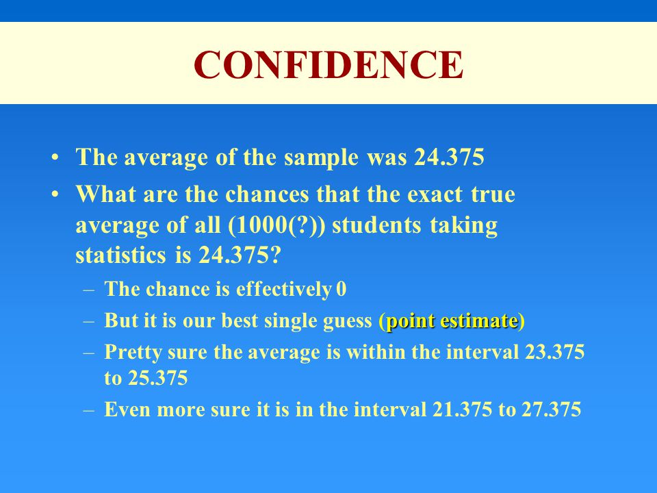 CONFIDENCE The average of the sample was 24.375 What are the chances that the exact true average of all (1000(?)) students taking statistics is 24.375.