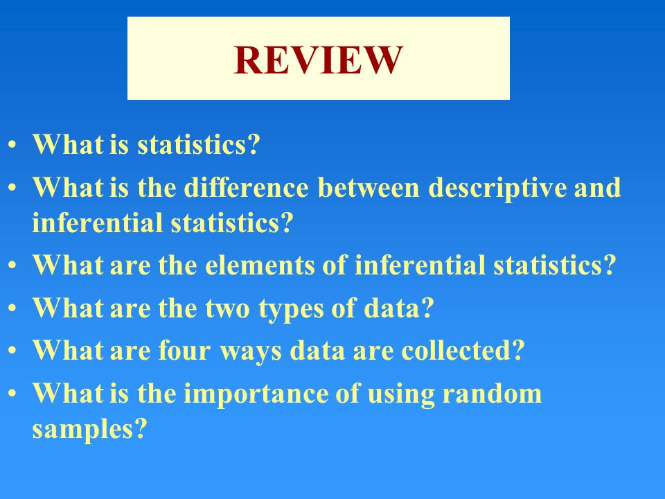 REVIEW What is statistics. What is the difference between descriptive and inferential statistics.