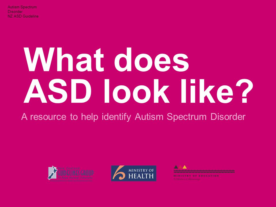 Autism Spectrum Disorder NZ ASD Guideline What does ASD look like.