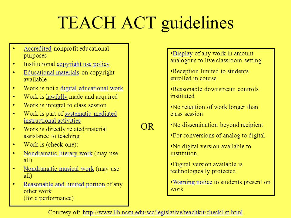 "TEACH Act Technology, Education, and Harmonization Act ""TEACH says it is not copyright infringement for teachers and students at an accredited, nonpro"