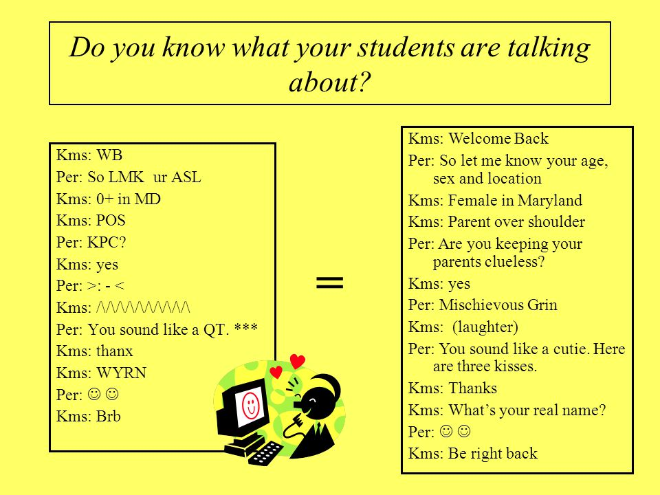 Let's Start with Language Do you know what your students are talking about? Kms: WB Per: So LMK ur ASL Kms: 0+ in Maryland Kms: POS Per: KPC? Kms: yes