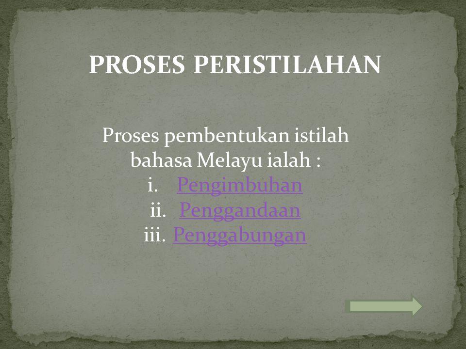 PROSES PERISTILAHAN Proses pembentukan istilah bahasa Melayu ialah : i.PengimbuhanPengimbuhan ii.PenggandaanPenggandaan iii.PenggabunganPenggabungan