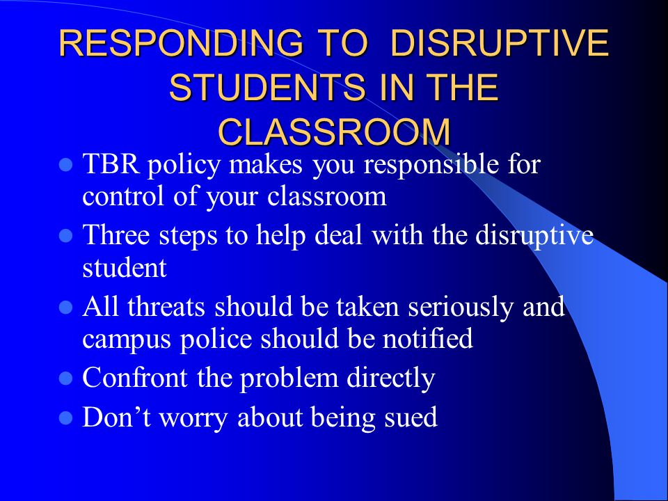Responses to Level Three Issues Contact Campus Security to ensure your own safety and that of other students Remove student from any public area with attention to your own security Assess level of distress and potential to harm self or others Have Campus Security transport student to hospital or other appropriate agency Debrief incident with administrators and others who were involved