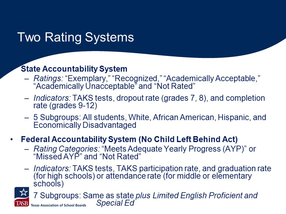 Two Rating Systems State Accountability System –Ratings: Exemplary, Recognized, Academically Acceptable, Academically Unacceptable and Not Rated –Indicators: TAKS tests, dropout rate (grades 7, 8), and completion rate (grades 9-12) –5 Subgroups: All students, White, African American, Hispanic, and Economically Disadvantaged Federal Accountability System (No Child Left Behind Act) –Rating Categories: Meets Adequate Yearly Progress (AYP) or Missed AYP and Not Rated –Indicators: TAKS tests, TAKS participation rate, and graduation rate (for high schools) or attendance rate (for middle or elementary schools) –7 Subgroups: Same as state plus Limited English Proficient and Special Ed