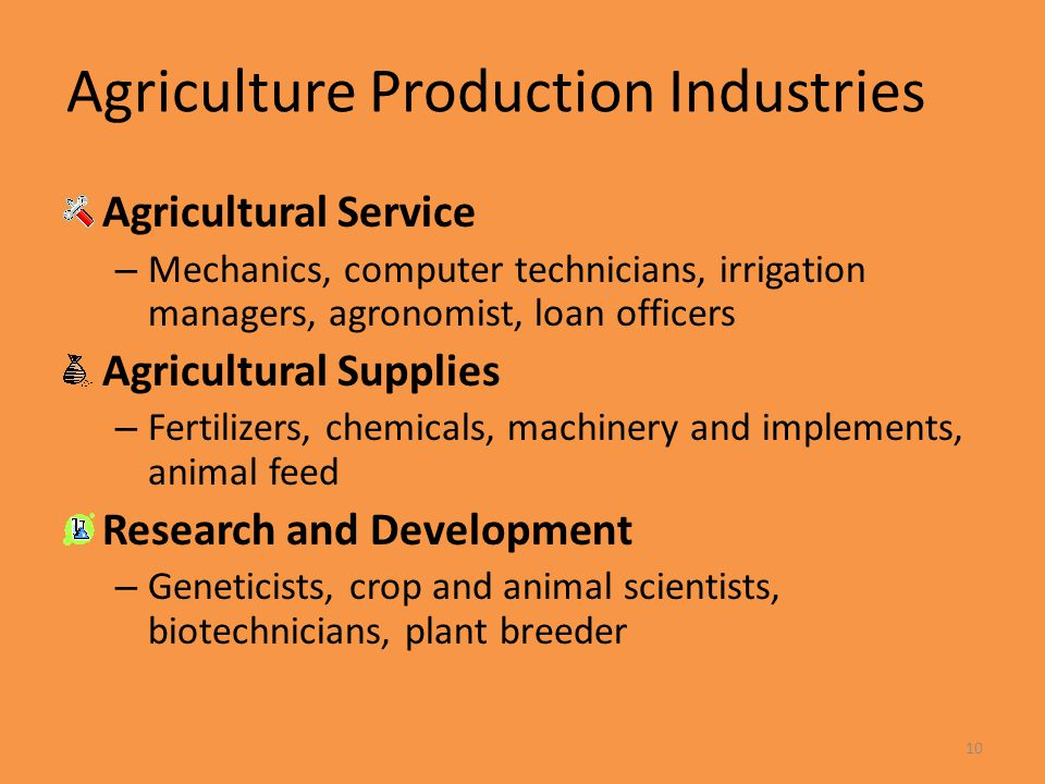 10 Agriculture Production Industries Agricultural Service – Mechanics, computer technicians, irrigation managers, agronomist, loan officers Agricultur