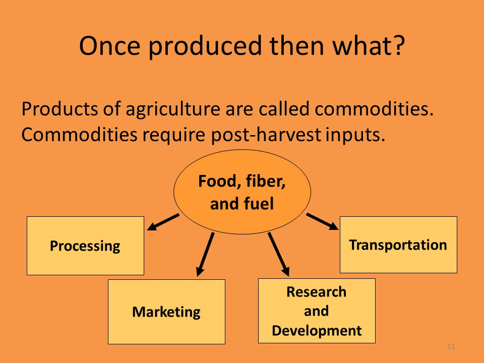 11 Once produced then what? Products of agriculture are called commodities. Commodities require post-harvest inputs. Processing Transportation Researc