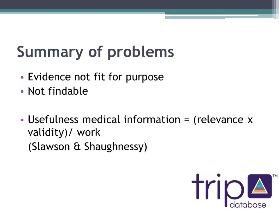 Summary of problems Evidence not fit for purpose Not findable Usefulness medical information = (relevance x validity)/ work (Slawson & Shaughnessy)
