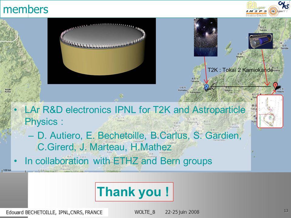 13 Edouard BECHETOILLE, IPNL,CNRS, FRANCE Edouard BECHETOILLE, IPNL,CNRS, FRANCE WOLTE_8 22-25 juin 2008 members LAr R&D electronics IPNL for T2K and