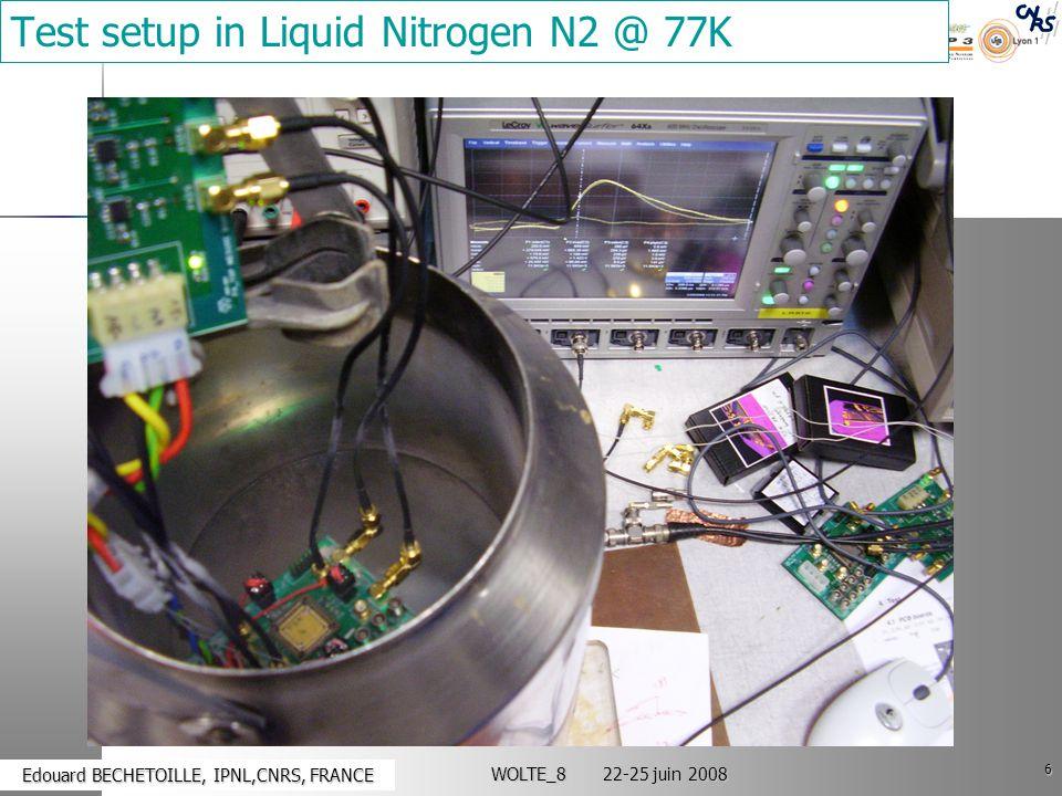 6 Edouard BECHETOILLE, IPNL,CNRS, FRANCE Edouard BECHETOILLE, IPNL,CNRS, FRANCE WOLTE_8 22-25 juin 2008 Test setup in Liquid Nitrogen N2 @ 77K